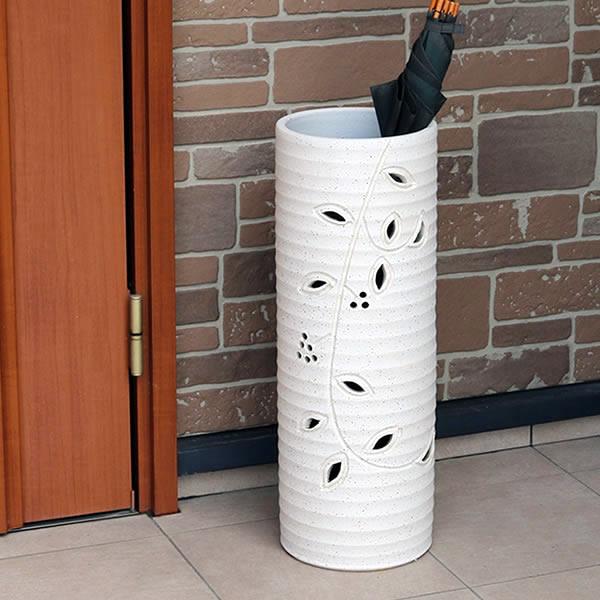 傘立て 陶器傘立て 信楽焼かさたて 和風傘立て 傘入れ 壷 しがらき カサタテ やきもの傘立て かさたて陶器 玄関 インテリア 傘立て陶器 おしゃれ 白色 ホワイト kt-0265