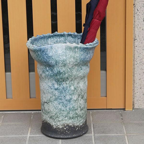 信楽焼 和風 おしゃれ 傘立て 陶器 かさたて 傘入れ アンブレラスタンド 壷 しがらき カサタテ 玄関 インテリア 玄関 花器 花瓶 かさたて 青窯変傘立て kt-0193