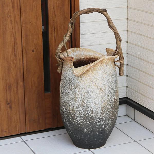 信楽焼 和風 おしゃれ 傘立て 陶器 かさたて 傘入れ アンブレラスタンド 壷 しがらき カサタテ 玄関 インテリア 玄関 花器 花瓶 つる付き傘立て kt-0252