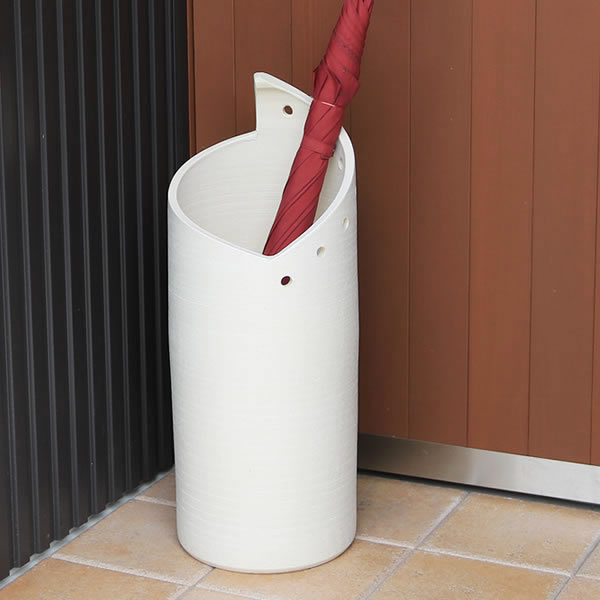 信楽焼 和風 おしゃれ 傘立て 陶器 かさたて 傘入れ アンブレラスタンド 壷 しがらき カサタテ 玄関 インテリア 玄関 花器 花瓶 白モダン傘立て kt-0272
