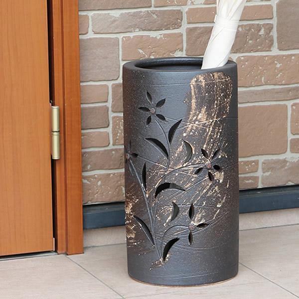 信楽焼 和風 おしゃれ 傘立て 陶器 かさたて 傘入れ アンブレラスタンド 壷 しがらき カサタテ 玄関 インテリア 玄関 花器 花瓶 花彫り傘立て kt-0305