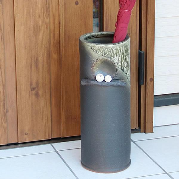 傘立て 陶器傘立て 信楽焼かさたて 和風傘立て 傘入れ 壷 しがらき カサタテ やきもの傘立て かさたて陶器 玄関 花器 花瓶 ふくろう傘立て 梟 フクロウ kt-0308