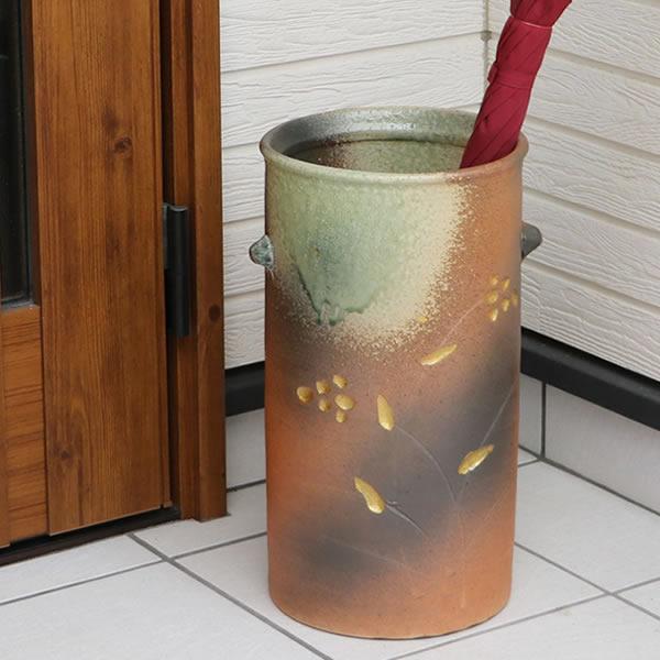 傘立て 陶器傘立て 信楽焼かさたて 和風傘立て 傘入れ 壷 しがらき カサタテ やきもの傘立て かさたて陶器 玄関 花器 花瓶 耳付き傘立て kt-0322