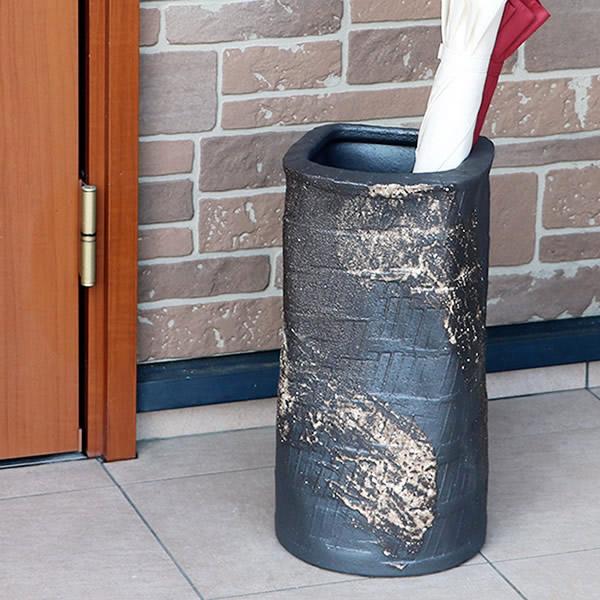 信楽焼 和風 おしゃれ 傘立て 陶器 かさたて 傘立て 傘入れ アンブレラスタンド 壷 しがらき カサタテ やきもの傘立て かさたて陶器 玄関 花器 花瓶 ブラック正角傘立て  kt-0339