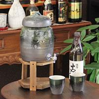 信楽焼 和風 おしゃれ 文字入れ可 2升用 焼酎サーバー カップ2客付き 焼酎が美味しくなると評判の陶器サーバー サーバー 陶器焼酎サーバー 名入れ ギフト ss-0081