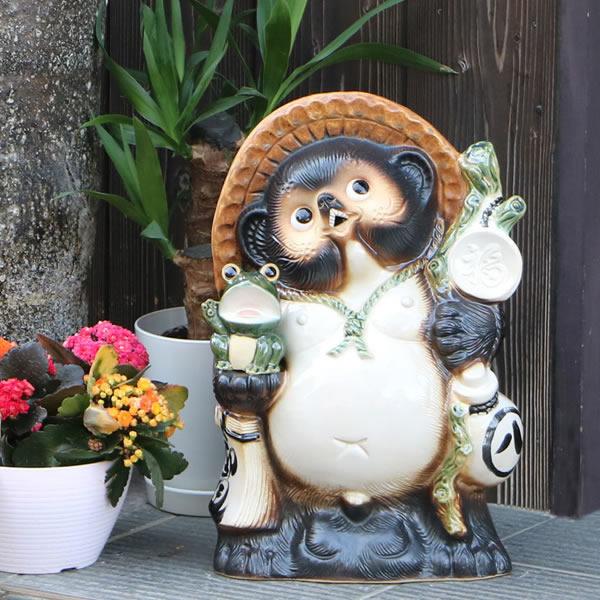 信楽焼 13号蛙持ち信楽焼たぬき 縁起物のタヌキ 陶器タヌキ たぬき置物 やきもの しがらきやき 焼き物 狸 タヌキ 信楽 ta-0141