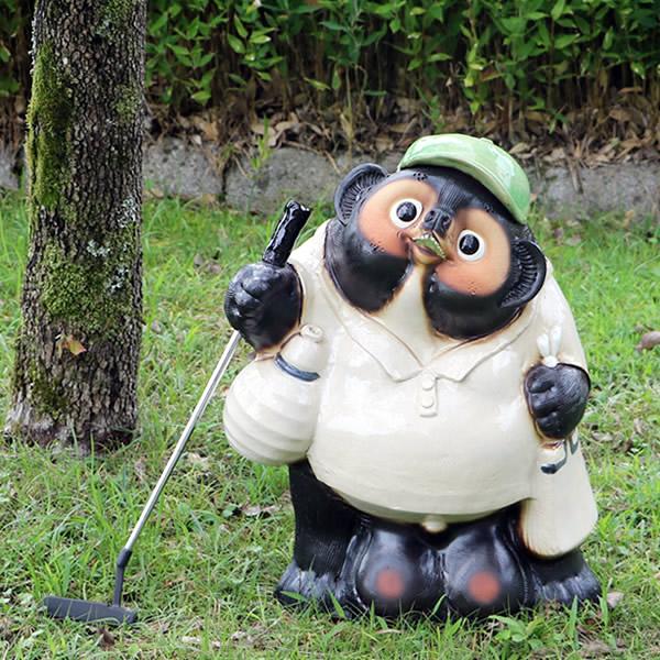 信楽焼 たぬき ゴルフ狸 たぬき  20号たぬき タヌキ 陶器タヌキ たぬき置物 やきもの しがらきやき 狸 信楽 焼き物たぬき 陶器たぬき 陶器狸 狸しがらき 名前入れ ta-0315