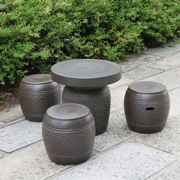 信楽焼 和風 おしゃれ 16号 ガーデンテーブル 陶器テーブル 焼き物 お庭、ベランダ用庭園セット ガーデンテーブルセット 陶器 イス テーブル ガーデンセット 屋外用 te-0015
