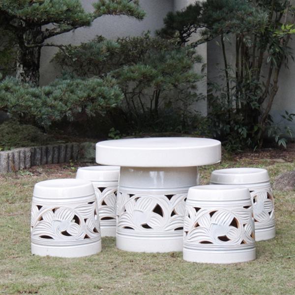 【 今だけ10%OFFクーポン 】信楽焼 和風 おしゃれ 20号 ガーデンテーブル 陶器テーブル 焼き物 お庭、ベランダ用庭園セット ガーデンテーブルセット 陶器 イス テーブル ガーデンセット 屋外用 te-0019
