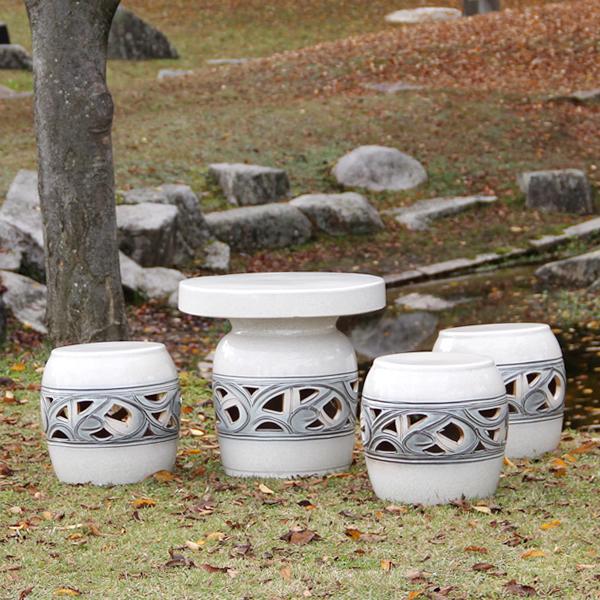 信楽焼 和風 おしゃれ 16号 ガーデンテーブル 陶器テーブル 焼き物 お庭、ベランダ用庭園セット ガーデンテーブルセット 陶器 イス テーブル ガーデンセット 屋外用 te-0025