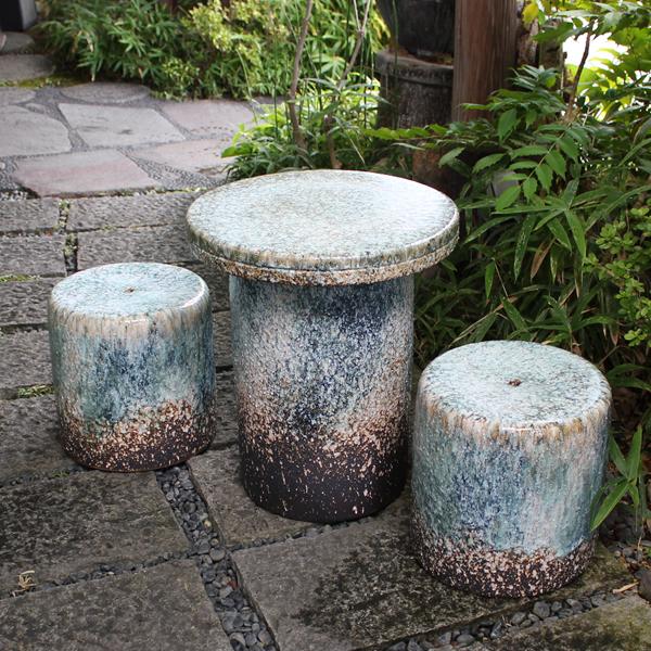 信楽焼 和風 おしゃれ 15号 ガーデンテーブル 陶器テーブル 焼き物 お庭、ベランダ用庭園セット ガーデンテーブルセット 陶器 イス テーブル ガーデンセット 屋外用 te-0043