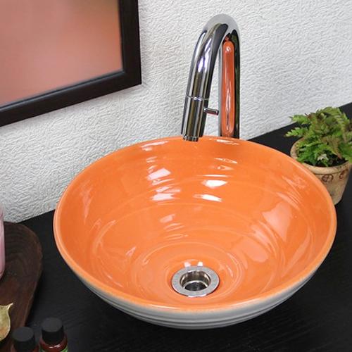 【 今だけ10%OFFクーポン 】信楽焼 和風 おしゃれ オレンジホワイト 小型 手洗い鉢 洗面鉢 お洒落 洗面器 手洗器 手洗鉢 洗面ボール 洗面シンク 陶器 洗面台 手洗い鉢 洗面ボール 洗面陶器 tr-2227