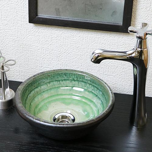 【P5倍以上】信楽焼 和風 おしゃれ 洗面ボール 洗面ボウル セット 小さい 陶器 手洗い鉢 手洗い器 手洗器 洗面台 おしゃれ 手洗ボウル   緑ガラス ミニ tr-1080 お買い物マラソン