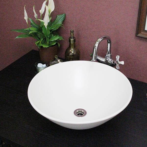 手洗鉢 tr-3077 信楽焼 鉢洗面ボウル 洗面鉢 洗面陶器 洗面シンク おしゃれ 洗面ボール お洒落 陶器 手洗い 手洗器 和風 洗面台 白マットソリ型手洗い鉢 洗面器