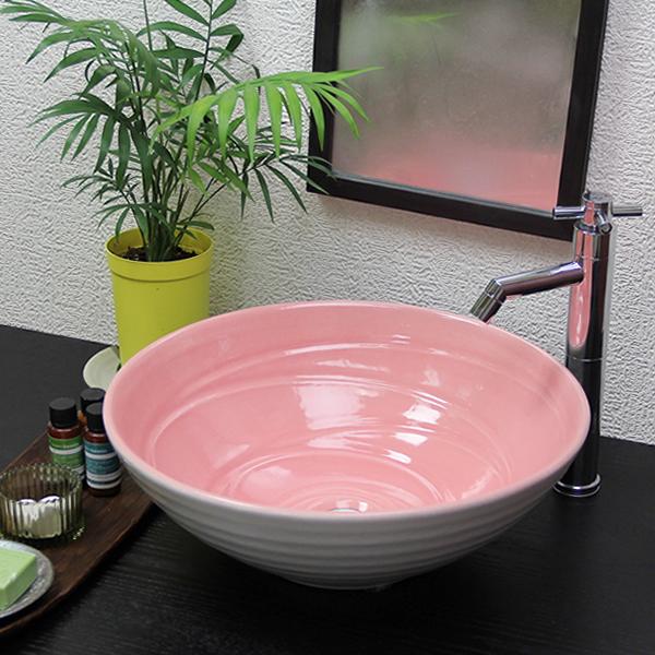 【 今だけ10%OFFクーポン 】信楽焼 和風 おしゃれ ピンクホワイト 中型 手洗い鉢 洗面鉢 お洒落 洗面器 手洗器 手洗鉢 洗面ボール 洗面シンク 陶器 洗面台 手洗い 鉢洗面ボウル 洗面陶器 tr-3221