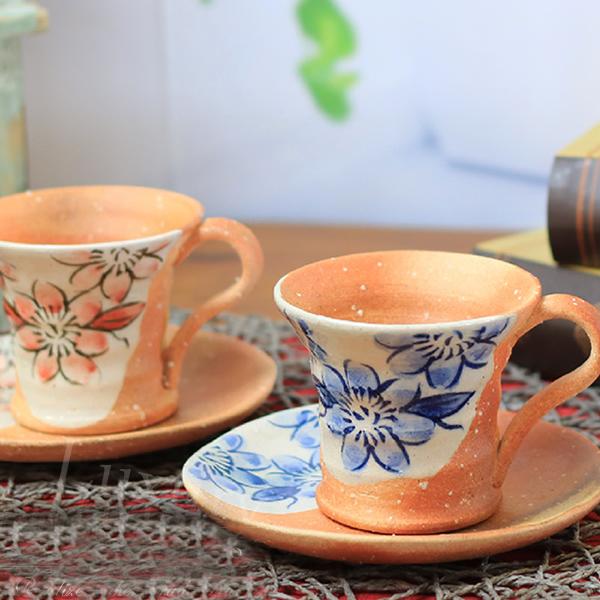 信楽焼 和風 おしゃれ  コーヒーカップ テッセン絵 陶器コーヒー おしゃれ 和 癒し 贅沢 器 カフェ 信楽 食器 カップ マグカップ しがらきtb-0003