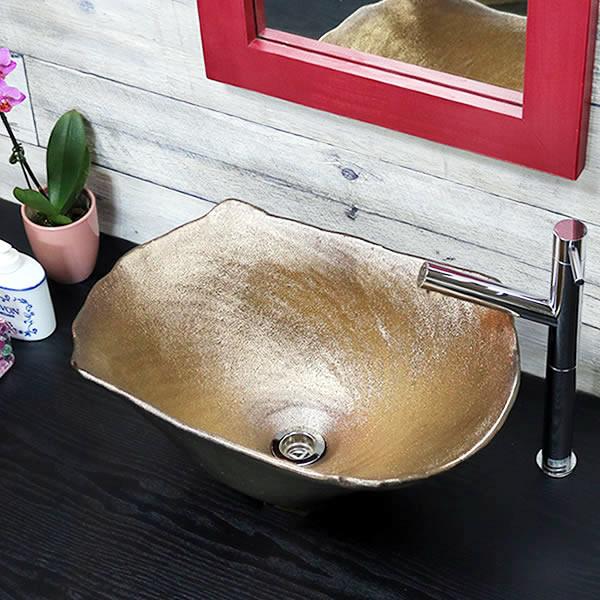 手洗い鉢 陶器洗面 信楽焼 洗面ボウル 手洗器 洗面ボール 手洗鉢 陶器 洗面鉢 鉢 手洗い器 洗面シンク 洗面器 洗面台 ボール 和風 やきもの しがらき 角型型 長方形 金 ゴールド tr-4130