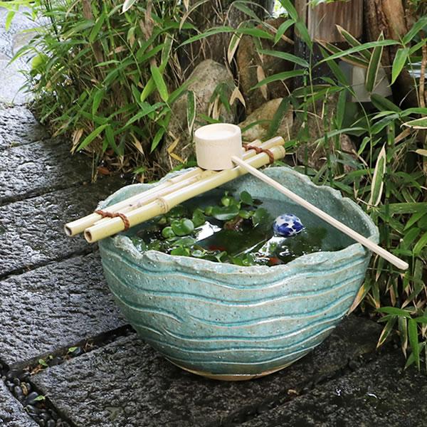 【P20倍以上】信楽焼 和風 おしゃれ  つくばい 竹付き陶器つくばい のツクバイ鉢陶器スイレン鉢 竹付き睡蓮鉢 鉢 メダカ鉢 金魚鉢 tu-0021