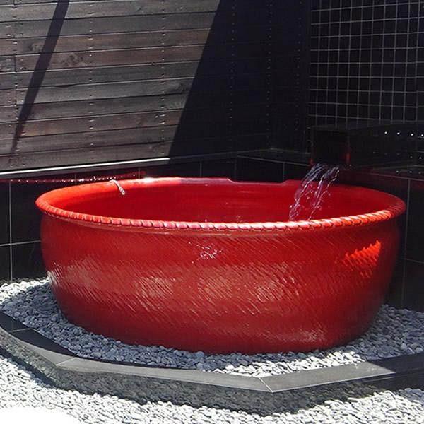 丸型 直径1800 × 高さ600mm 信楽焼浴槽 手ひねり成型 陶器浴槽 陶器風呂 つぼ湯 つぼ風呂 風呂釜 風呂桶 しがらきやき やきもの バスタブ 釜風呂 信楽焼ふろ 露天 温泉 yt-1800