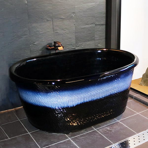 小判型浴槽 幅1200×奥行き750× 高さ550ミリ 信楽焼浴槽 陶器風呂釜 陶器浴槽 陶器風呂 つぼ湯 つぼ風呂 風呂釜 風呂桶 しがらきやき やきもの バスタブ 釜風呂 信楽焼ふろ 露天風呂 yk-1200
