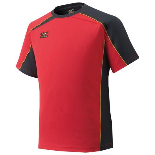 在庫処分 ミズノ ミズノプロ Tシャツ 2020 新作 メンズ レッド×ブラック 62 Mizuno 出色 12JA6T01