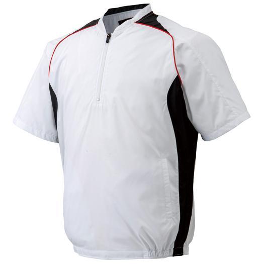 選択 送料無料 マーケティング ミズノ ハーフZIPジャケット 半袖 Mizuno ホワイト×ブラック 12JE4V41 01