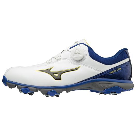 ミズノ ネクスライト005ボア EEE(ゴルフ) メンズ ホワイト×ブルー Mizuno 51GM1810 22