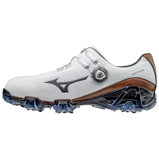 ミズノ ジェネム007ボア EE(ゴルフ) メンズ ホワイト×ブラウン Mizuno 51GP1700 55