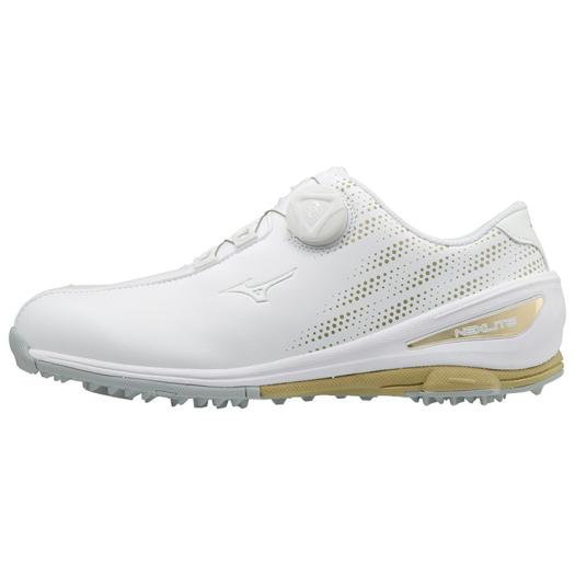 【送料無料】ミズノ ネクスライト004ボア EEE(ゴルフ)[レディース] ホワイト×ゴールド Mizuno 51GW1720 50
