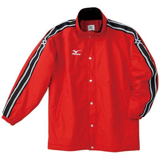 ミズノ 中綿ウォーマーキルトシャツ(フード収納式) レッド Mizuno A60JF961 62