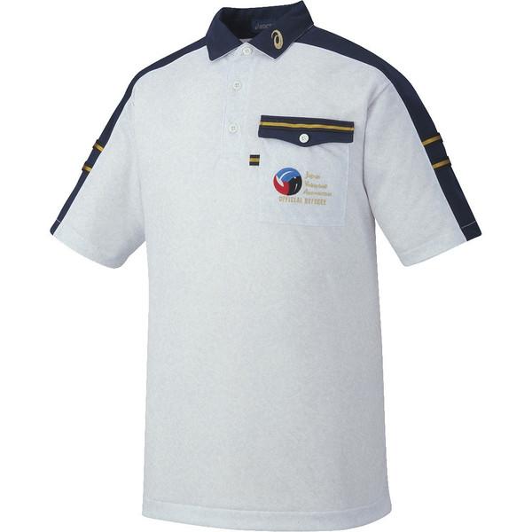 アシックス レフリーシャツHS ホワイト杢×ネイビー asics XW6314 9750