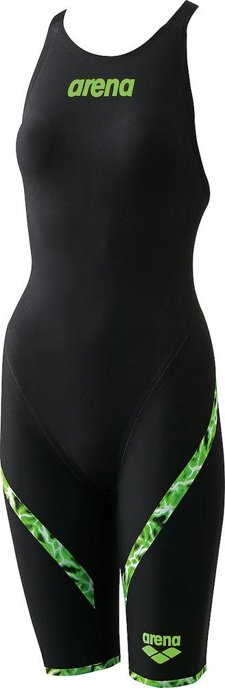 【今ならポイント15倍】アリーナ ガールズ 競泳用水着(Fina承認) ジュニアハーフスパッツ フラットクロスバック アクアレーシング arena ARN6000WJ BKGN
