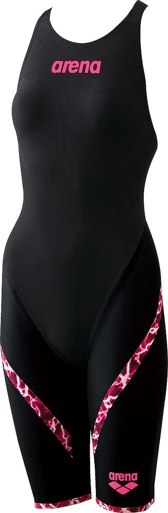【今ならポイント15倍】アリーナ ガールズ 競泳用水着(Fina承認) ジュニアハーフスパッツ フラットクロスバック アクアレーシング arena ARN6002WJ BKPK