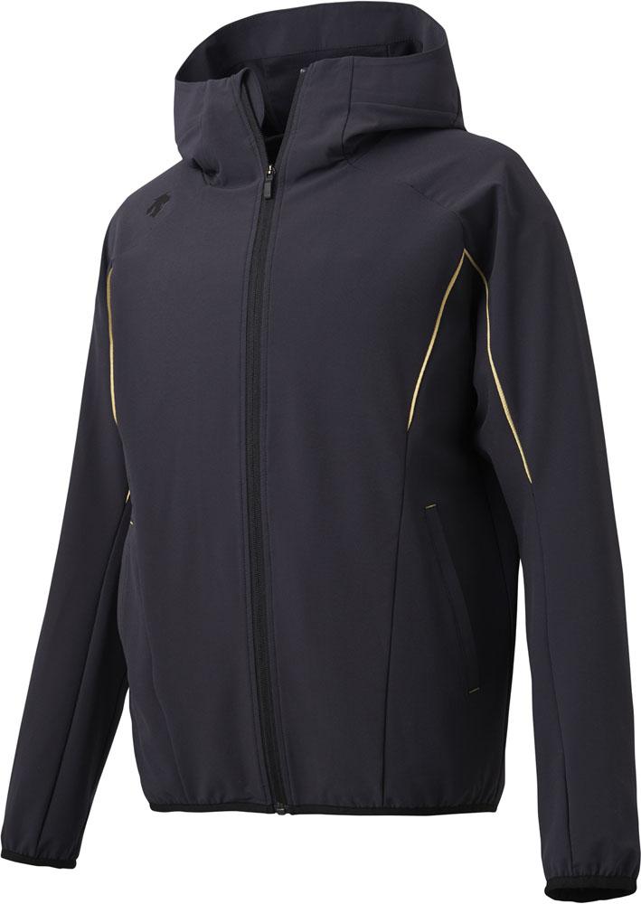 テレビで話題 送料無料 デサント フーデッド長袖ハイブリッドジャケット ブラック DBX3605LB DESCENTE BLK 正規品