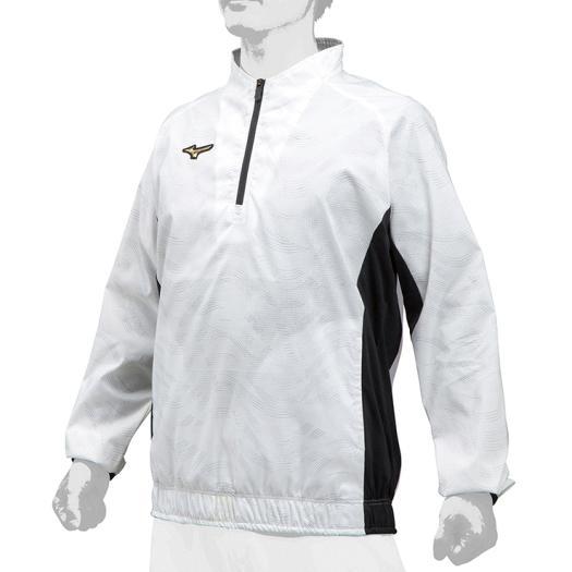 在庫処分 誕生日プレゼント 送料無料 ミズノ ミズノプロ 安心と信頼 ハーフZIPトレーニングジャケット ホワイト 01 12JE9J71 Mizuno
