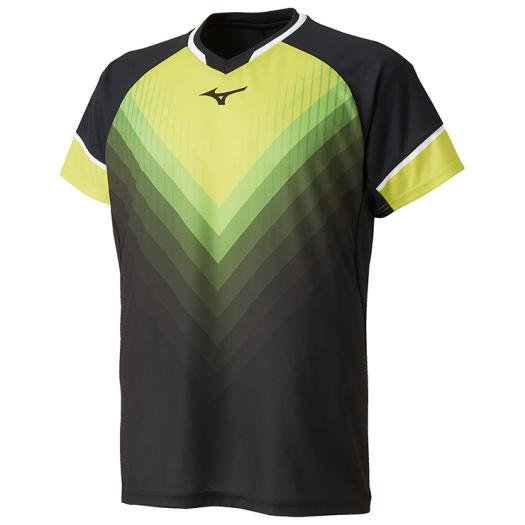 【在庫処分】ミズノ ゲームシャツ(ラケットスポーツ) ブラック×ライムグリーン Mizuno 72MA9004 94