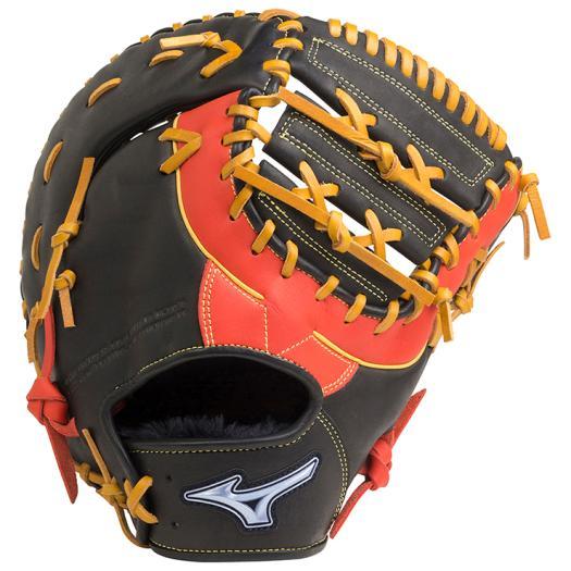 ミズノ ソフトボール用ファンラップef捕手/一塁手兼用(コンパクトタイプ) ブラック×スプレンディッドオレンジ Mizuno 1AJCS20510 0952