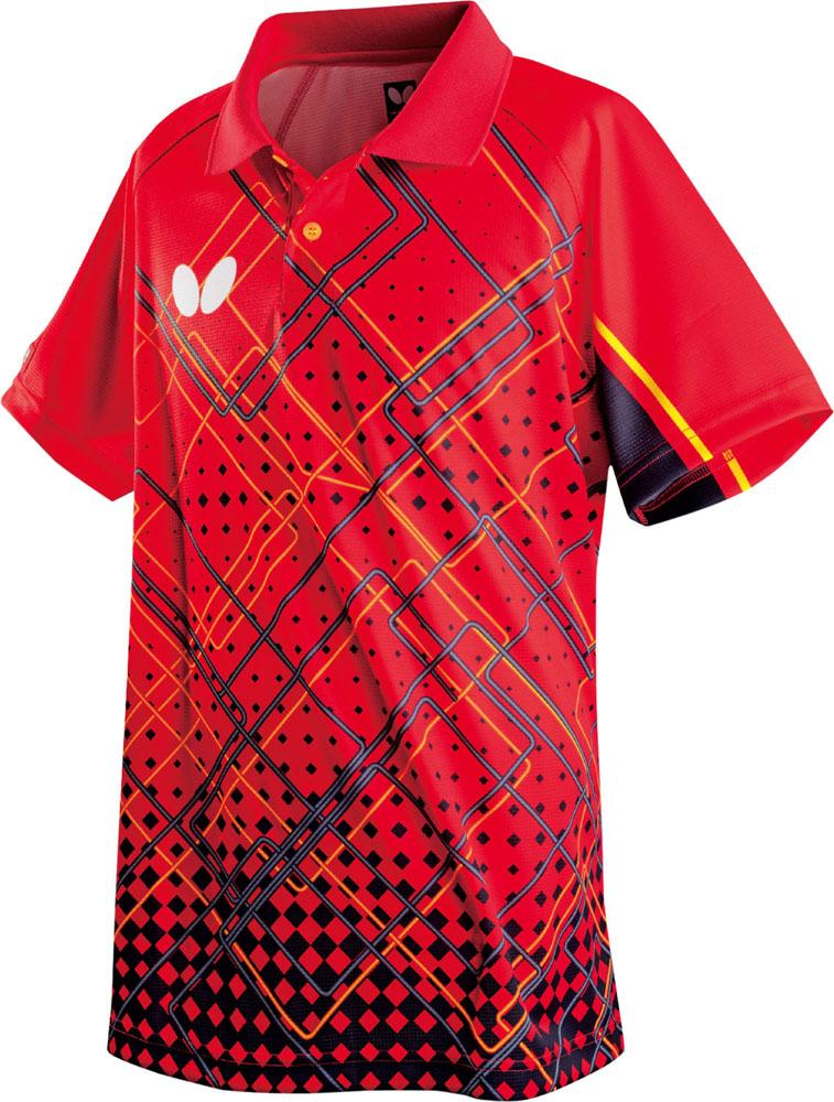 送料無料 贈答 バタフライ 卓球 まとめ買い特価 ゲームシャツ ユニセックス ファインスクエア レッド シャツ 006 Butterfly 45290