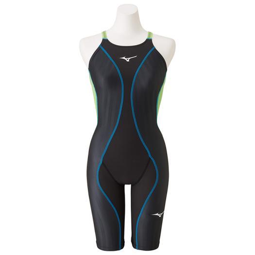 ミズノ 競泳用FX・SONIC+ ハーフスーツ[レディース] ブラック×ライムグリーン Mizuno N2MG9230 94