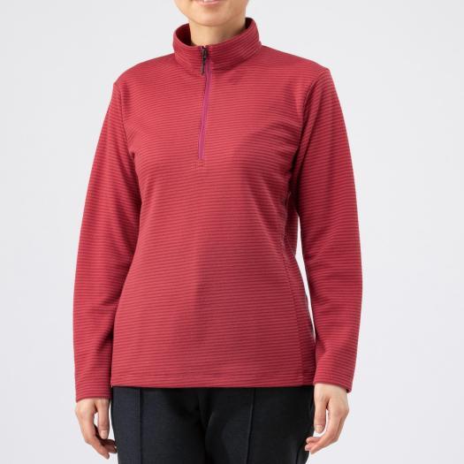 在庫処分 送料無料 ミズノ ブレスサーモミニボーダージップシャツ 上品 レディース Mizuno カーディナルレッド 62 B2MA9769 低価格化