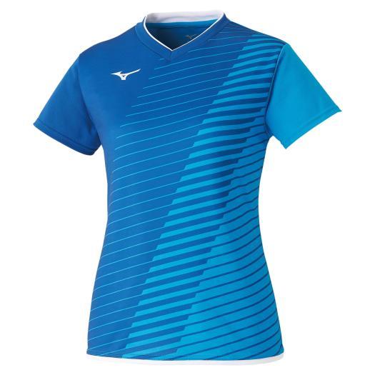 送料無料 ミズノ ゲームシャツ ラケットスポーツ 2020モデル 公式ショップ レディース ディーバブルー×トゥルーブルー 82 Mizuno 72MA0221