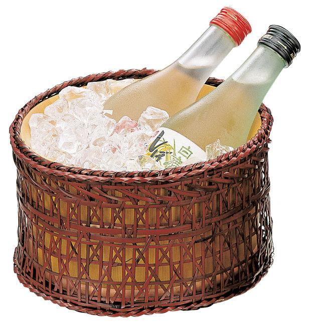 椹・冷酒クーラー (篭付) [W12655](酒の器)