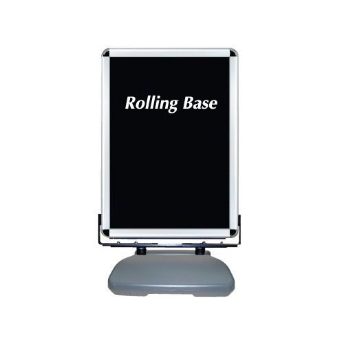【送料無料·】ローリングベース たおれん君 スイング式 防水パック仕様 シルバー サイズ:B1 (スタンド看板/ポスター用スタンド看板)