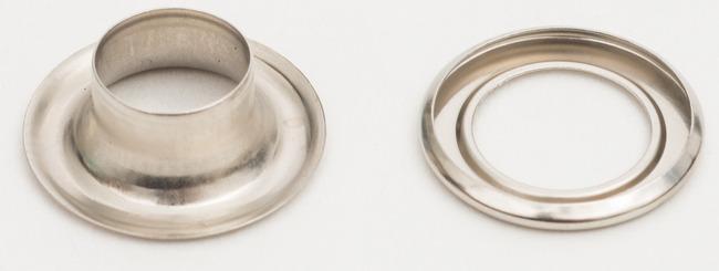 ハトメ 真鍮アイレット シルバー 仕様:φ12mm/1000セット入 (スタンド看板/看板部材/バナースタンド/展示会/セミナー会場/販促品用ウエイト・関連商品)