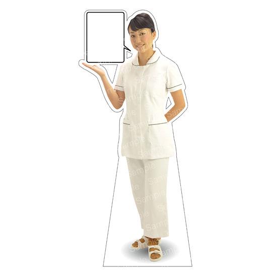 等身大パネル 女性制服(白衣セパレート着用)-A モデル野原奈々 ポーズ:左向き (イベント用品/等身大パネル・バナー/医療機関向け(パネル))