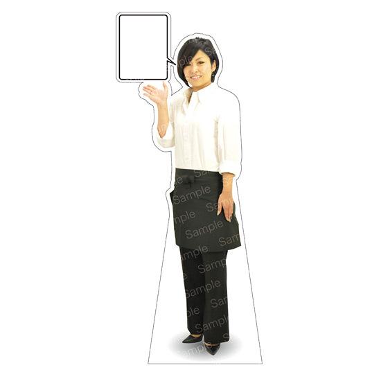 等身大パネル エプロン-C モデル金沢真夢 ポーズ:左向き (イベント用品/等身大パネル・バナー/飲食店向け(パネル))