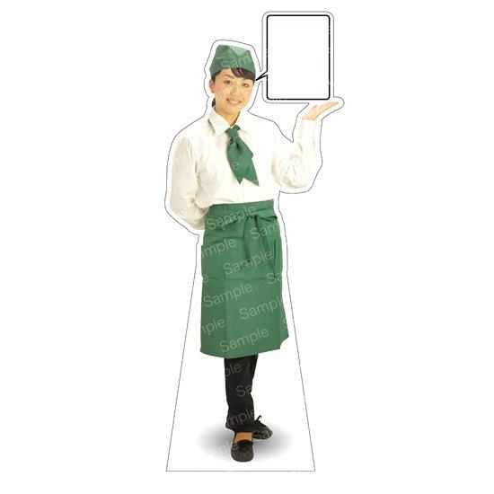 等身大パネル カフェ(グリーン)-A モデル野原奈々 ポーズ:右向き (イベント用品/等身大パネル・バナー/飲食店向け(パネル))