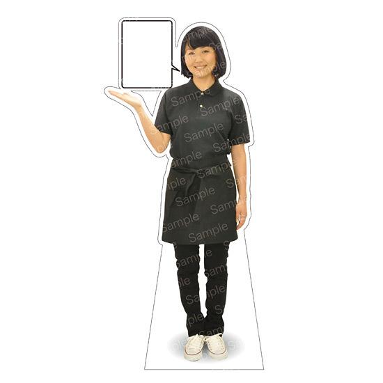 等身大パネル 女性ポロシャツ(エプロン)-A モデル野原奈々 シャツカラー:ネイビー (イベント用品/等身大パネル・バナー/店舗向け(パネル))