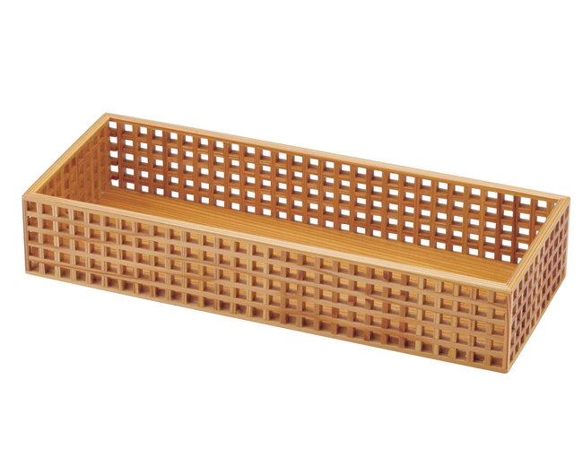 細目 (ささめ) 格子盛器 長角 [W31114](業務用弁当箱/三ツ仕切・多仕切 弁当箱)