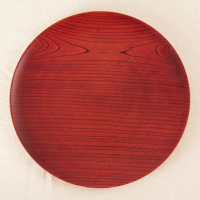 was 平皿 大(赤) (W89550) (料理箱・皿/木製料理皿)